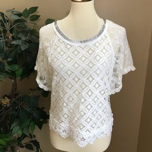 Miss Me Sheer Lace Blouse Beaded Neckline